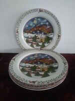 4 Susan Winget Over The Housetops Dinner Plates International China Christmas
