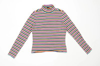 Monki Womens Size S Striped Cotton Blend Multi-Coloured T-Shirt (Regular)