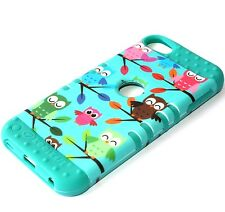 For iPod Touch 5th / 6th Gen - HARD&SOFT RUBBER HYBRID CASE TURQUOISE GREEN OWL