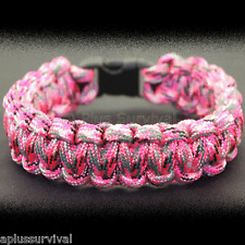 Pretty in Pink Camo Paracord Emergency Rope Survival Bracelet - Made in the USA
