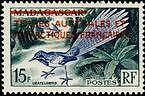 "TERRES AUSTRALES N°1 ""TIMBRE DE MADAGARCAR OISEAU SURCHARGE 15 F."" NEUF xx TTB"