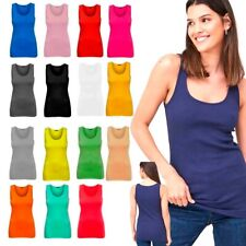Ladies Girls Stretch Plain Cami Vest Strap Customize  Top Sizes 10 - 20 new