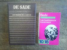 lot de 2 livres Marquis de Sade Les instituteurs immoraux Les crimes de l'amour