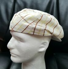 NWT Mens XL LASTONE Newsboy Button Hat Cap Polyester White Yellow Brown Stripes