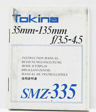 Tokina F/3.5-4.5 35-135mm Zoom Telephoto Lens Manual Guide Instructions