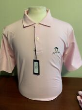 NWT Fairway & Greene Natural Pink White Stripe Medium or XL Golf Polo shirt logo