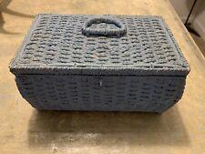 Vintage 50's Wicker Rattan Blue Sewing Basket