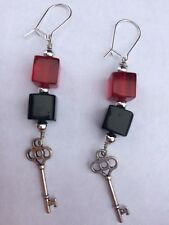 Designer hand made long dangling earrings red black cubes and key very unusual