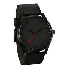 TOP Men Wristwatch Sport Stainless Steel Case Leather Band Quartz Analog Watches