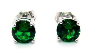 Sterling Silver Emerald 2.28ct Stud Earrings (925) Free Gift Box