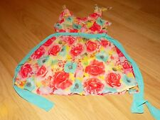 Size XS 4-5 Holiday Editions Floral Rose Flower Easter Dress Aqua Pink Yellow