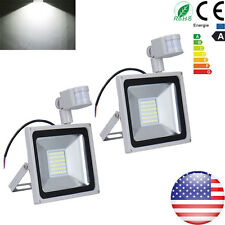 2X 50W Cool White LED PIR Motion Sensor Outdoor Security Lamp Floodlight 110V