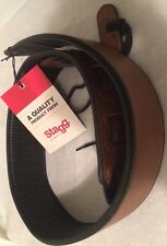 Quality Stagg Synthetic Leather Guitar Bass  Strap Brown