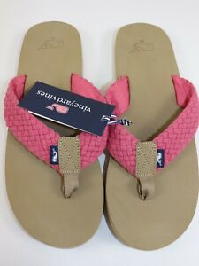 NWT $89 VINEYARD VINES Size 11 Men's Jetty Red 100% Smooth Leather WEB Flip Flop