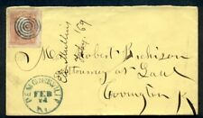 1869, 3¢  tied by blue ring & DEMONSVILLE KY cancels, big stamp, VF