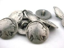 Indian Head Nickel Metal Buttons Qty 4 to 20 Antique Silver Clothing Button 15mm