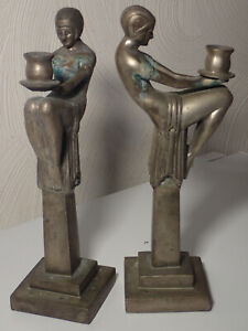 """Pair large ART DECO  MAX LE VERRIER style bronze figures candle holders """"Enigme"""""""