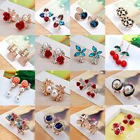 Elegant Women Rhinestone Crystal Flower Ear Stud Clip Drop Earring Charm Jewelry