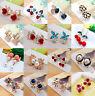 Fashion Elegant Women Rhinestone Crystal Flower Ear Stud Clip Drop Earrings Gift