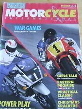 MOTORCYCLE INTERNATIONAL MAGAZINE DEC 1986 WAR GAMES FRENCH MOTESSES JAWA HONDA