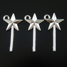 60pcs Vintage Silver Alloy Star Magic Wand Pendants Charms Fashion Jewelry 39104