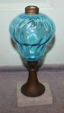 ANTIQUE 19C WHALE OIL LAMP BLUE BLOWN GLASS
