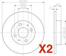 Rear Brake Discs 240mm fits Alfa Romeo 33 907A_ 1.7 16V (907.A1C)