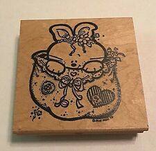 "Judikins Rabbit in Bag 4138 H Wood Mounted Rubber Stamp - 4""X 4"" Easter Bunny"