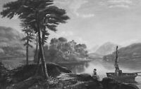 SCOTLAND Lake Loch Awe View from Cladich - 1839 Antique Print Engraving