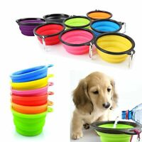 Pet Dog Cat Silicone Feeding Bowl w/ Buckle Water Dish Feeder Collapsible Travel