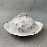 Antique Theodore Haviland Limoges Domed Covered Butter Dish w/ Insert Strainer