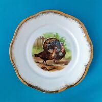 "🦃VINTAGE ANTIQUE MIGNON Z.S. & CO. BAVARIA PORCELAIN 9"" GOLD LEAF TURKEY PLATE"