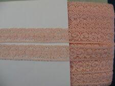 13B)  5,40 Mtr alte wundervolle Tüllspitze kleine ROSEN  rosa 18 mm Frankreich
