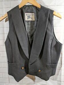 Vintage Burberry Waistcoat Vest Black Wool Two-Button