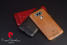 Pierre Cardin For LG G5 Back Case Cover Retro Genuine Leather Hard PC