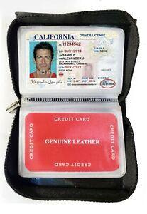 Black Genuine Leather Business Card Organizer Plastic Insert Zip Around Wallet