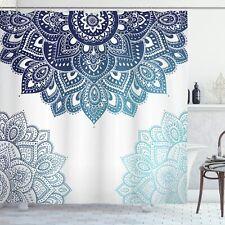 "Flora Shower Curtain Boho Mandala Fabric Bathroom Decor with Hooks 72""x72"""