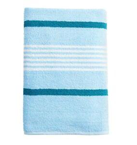 "Pack of 4 - The Big One Stripe Bath Towel 27"" x 54"" 100% Cotton Blue"