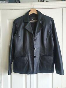 Vintage Milan Black Leather Blazer Jacket Size 14