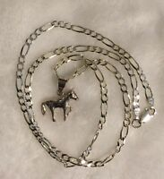 "Estate Sale .925 Sterling Silver 18""  Figaro Chain & .925 HORSE Pendant !!"