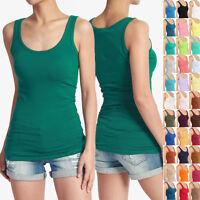 MOGAN Plain Scoop Neck Soft TANK TOP Basic Casual Layering Sleeveless Tee Shirts
