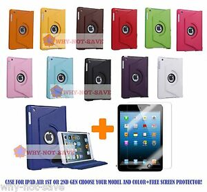 360 Rotating Smart Leather Case Cover with stand for iPad Air 1 1st & 2 2nd Gen