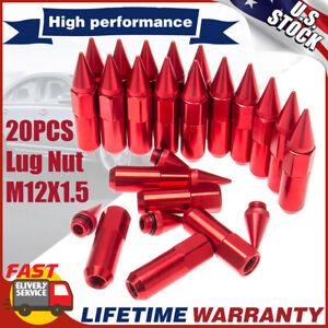 20PCS M12X1.5 Aluminum Racing Wheel 60MM Lug Nuts with Socket Key for Honda Red