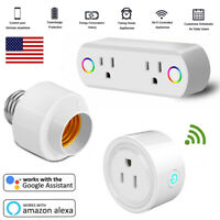 Smart WiFi 1/2 Plug Outlet Switch Light Socket Adapter For Google Home Alexa US