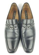 Mezlan 'Cain' Mens Sz 10.5 Black Leather Loafers Apron Toe Slip On Shoes Bit