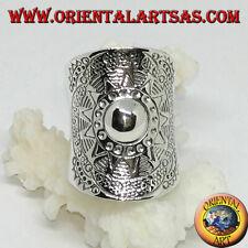 Anello a fascia larga in argento 925 ‰ scudo fatto a mano dai karen