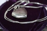 "Vintage Retro Engraved Heart Locket Pendant 925 Silver Necklace Link  Chain 16"""