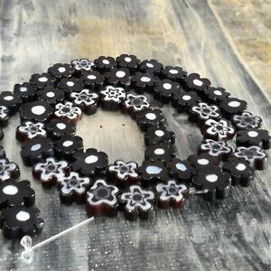 Handmade Millefiori Glass, Flower, 6.4-9x3.2mm, Black,  Appr 56pce