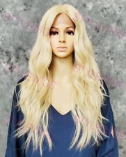 Light Blonde Long Loose Wavy Heat OK Human Hair Blend Lace Front Wig EVEX 613