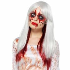 Adult Ladies Deluxe Zombie Ombre Red Blood Drip Wig Dip Dye Halloween Accessory